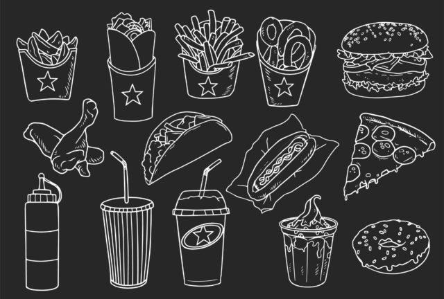 Des snacks: hamburger, pizza, frite, donuts, soda, kebabs