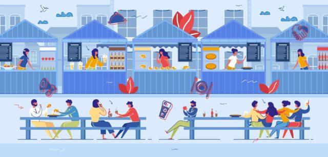 Gens consomment des snacks et fast food