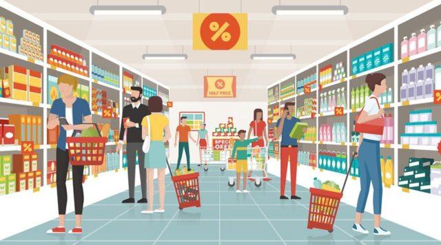 Des consommateurs au supermarché - Au Tour Du Snacking