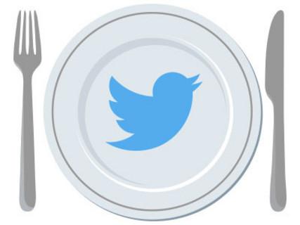 Logo Twitter sur une assiette